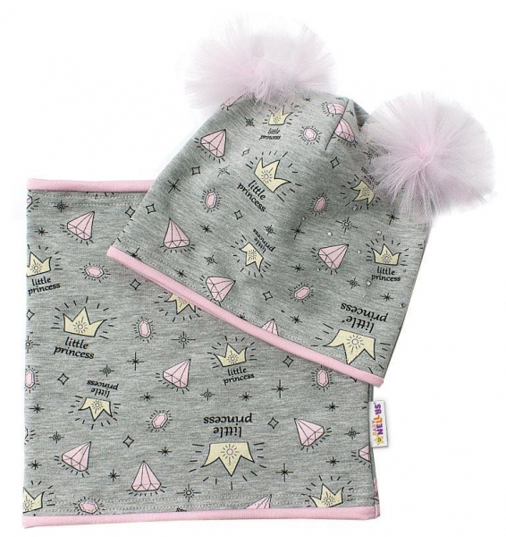 Bavlnená sada čiapočka s tutu a nákrčník Princes - šedá, růžová, 5-10let-50/52 čepičky obvod