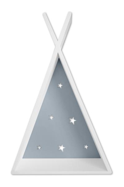 NELLYS Polička na stenu Star - týpí biely s šedou  D19