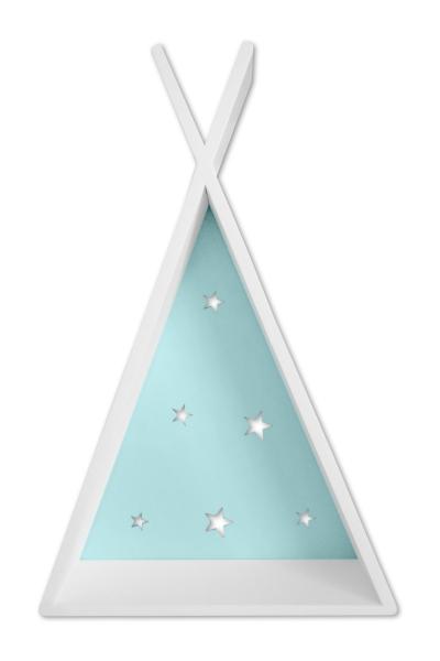 NELLYS Polička na stenu Star - týpí biely s mátou  D19