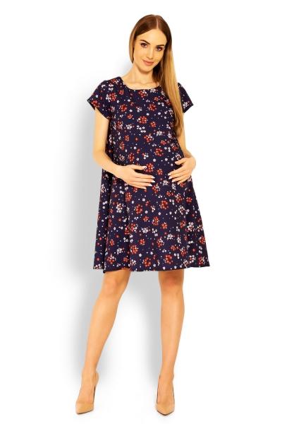 Elegantné voľné tehotenské šaty, tunika, kr. rukáv - printy kvetinky