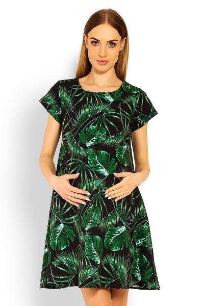 Elegantné voľné tehotenské šaty, tunika, kr. rukáv - jungle