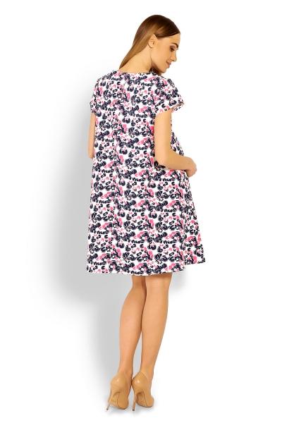 Elegantné voľné tehotenské šaty, tunika, kr. rukáv - cleo