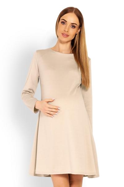 Elegantné voľné tehotenské šaty dl. rukáv - béžové veľ. S/M