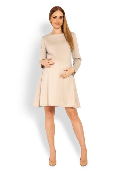 Elegantné voľné tehotenské šaty dl. rukáv - béžové veľ. L/XL