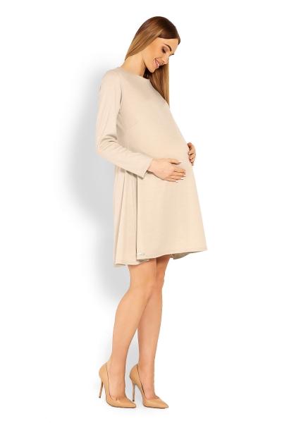 Elegantné voľné tehotenské šaty dl. rukáv - béžové