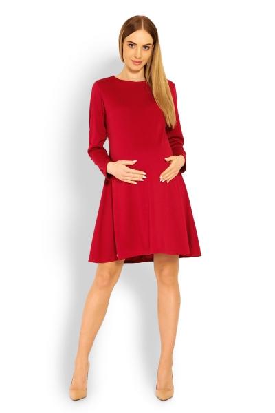 Elegantné voľné tehotenské šaty dl. rukáv - bordo 5c8520a2632