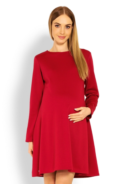 Be MaaMaa Elegantné voľné tehotenské šaty dl. rukáv - bordo,červené, XXL-XXL (44)