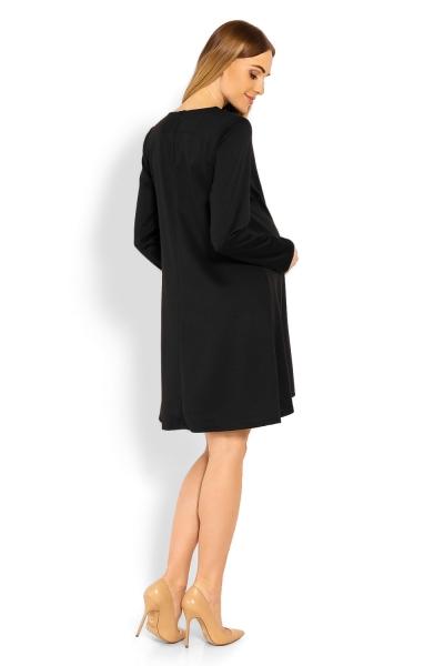 Elegantné voľné tehotenské šaty dl. rukáv - čierné