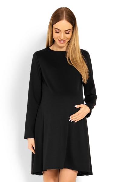 Be MaaMaa Elegantné voľné tehotenské šaty dl. rukáv - čIerné, XXL
