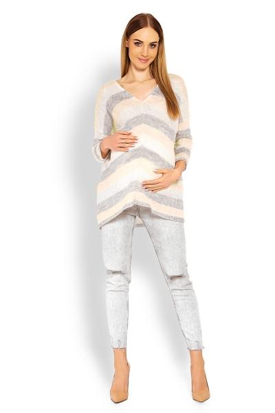 Trojfarebný voľný pulóver oversize - kombinácia krémová