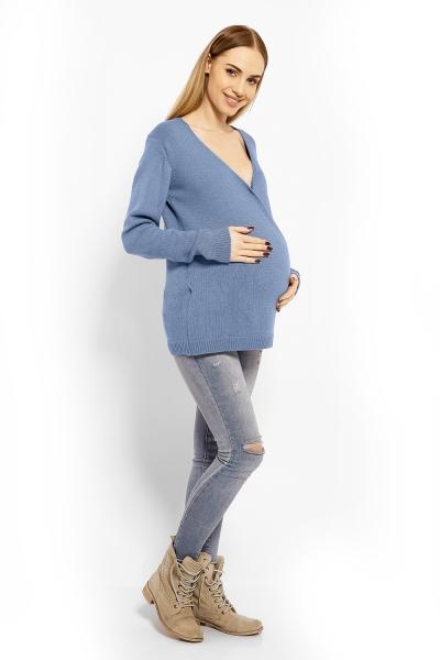 Zavinovací svetrík s vlnou - modrý, jeans