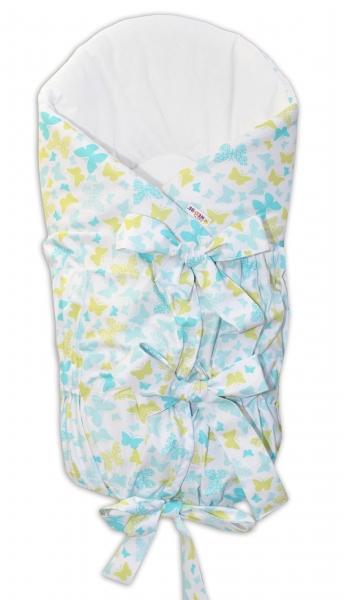 BABY NELLYS Zavinovačka šnurovacie 75x75cm - motýle žltí, modrí, K19