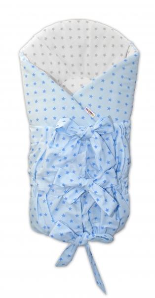 Baby Nellys Zavinovačka Safety 75x75 cm - Mini stars modré,sivé, K19