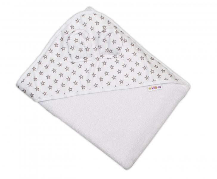 Detská termoosuška Baby Mini Stars s kapucňou, 100 x 100 cm - biela, sivé hvezdičky