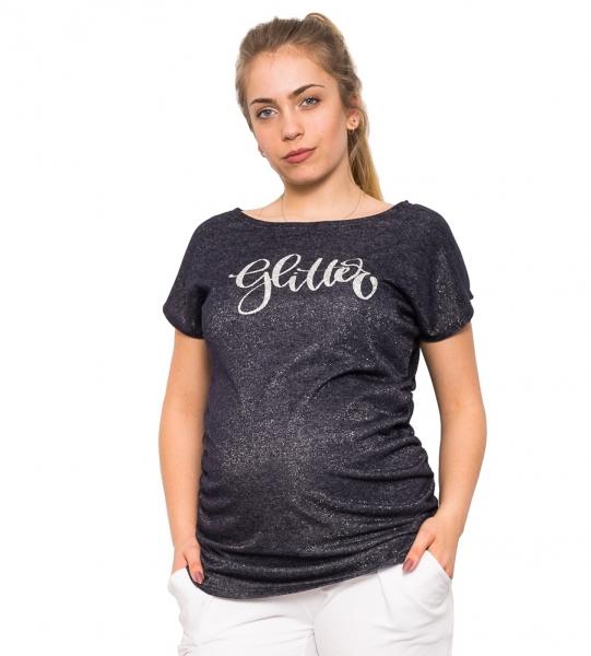 Tehotenské tričko Glitter granát