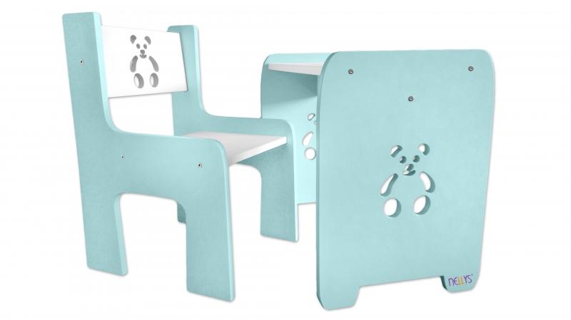 Sada nábytku Teddy - Stôl + stoličky - máta  s bielou