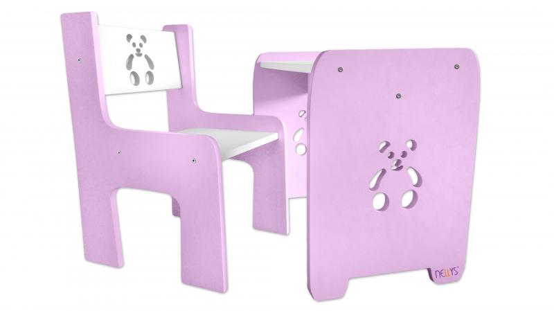 Sada nábytku Teddy - Stôl + stoličky - rúžová s bielou