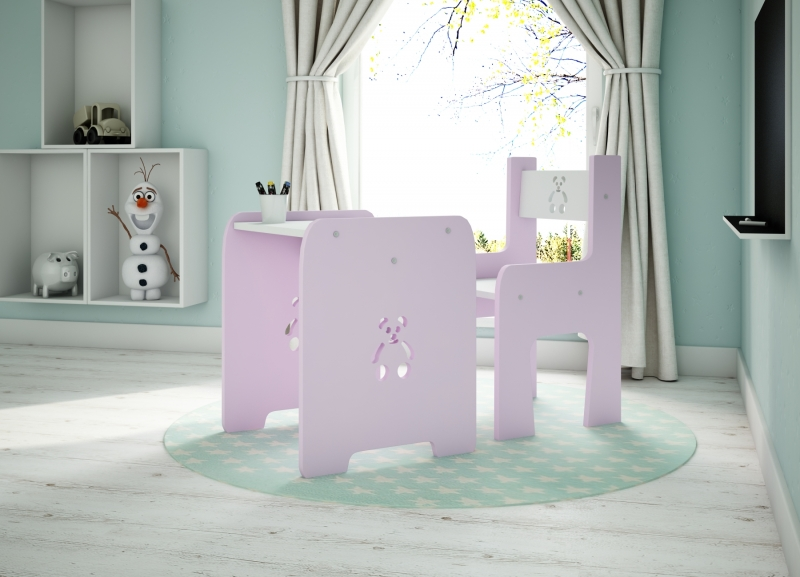 NELLYS Sada nábytku Teddy - Stôl + stoličky - ružová s bielou  D19