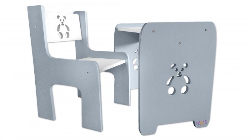 Sada nábytku Teddy - Stôl + stoličky -  šedá s bílou