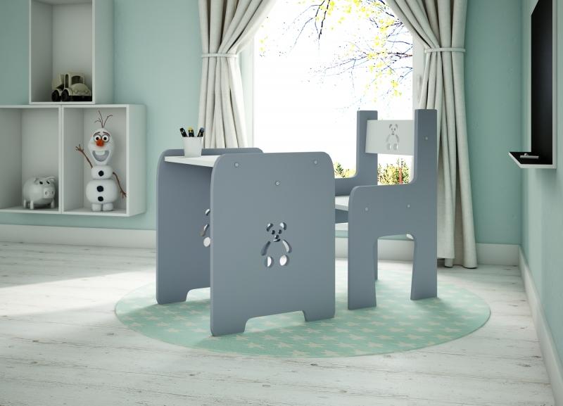 NELLYS Sada nábytku Teddy - Stôl + stoličky -  šedá s bílou  D19