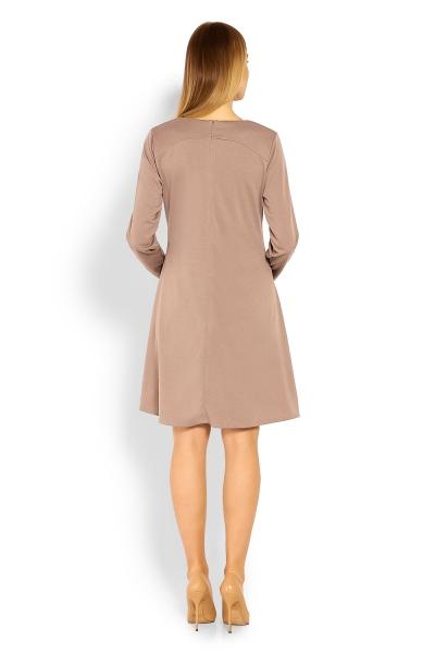 Elegantné voľné tehotenské šaty dl. rukáv - cappuccino