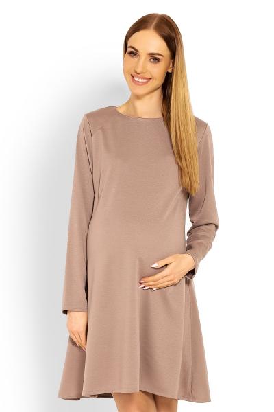 Be MaaMaa Elegantné voľné tehotenské šaty dl. rukáv - cappuccino,  L/XL-#Velikosti těh. moda;L/XL