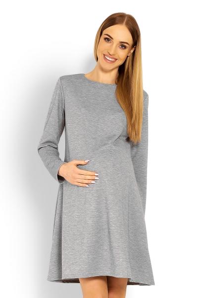 Elegantné voľné tehotenské šaty dl. rukáv - svetlo šedá