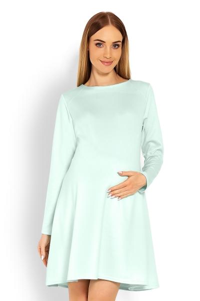 Be MaaMaa Elegantné voľné tehotenské šaty dl. rukáv - mátová, XXL
