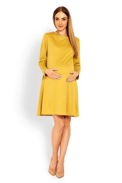Elegantné voľné tehotenské šaty dl. rukáv - hořčicová