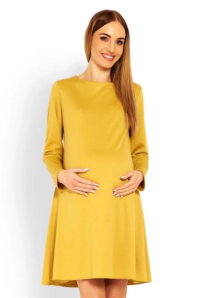 Elegantné voľné tehotenské šaty dl. rukáv - hořčicová, L/XL-L/XL