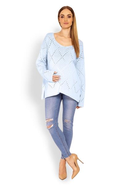Volný ažurkový pulóver Romby - svetlo modrý