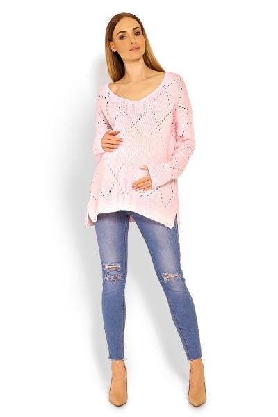 Volný ažurkový pulóver Romby - svetlo ružový