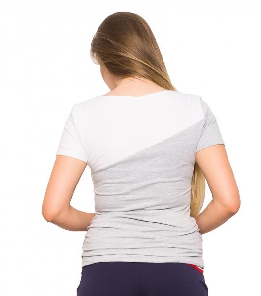 Tehotenské a dojčiace tričko Jane - šedá/bílá