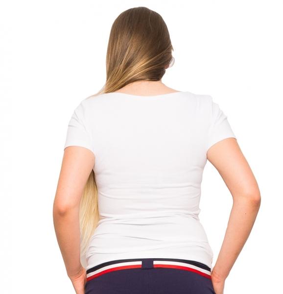 Tehotenské tričko Ústa, biela