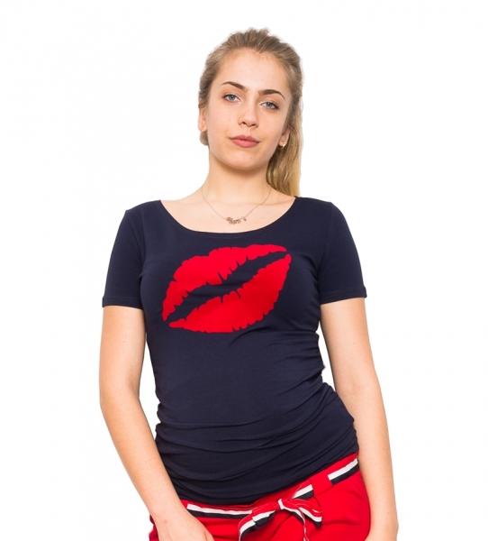 Tehotenské tričko Ústa, granát