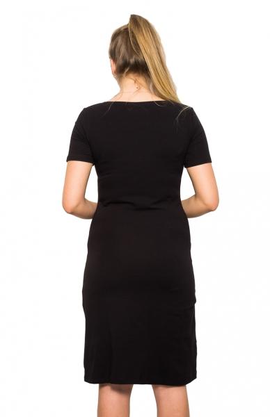 Tehotenská, dojčiace nočná košeľa Queen - černá