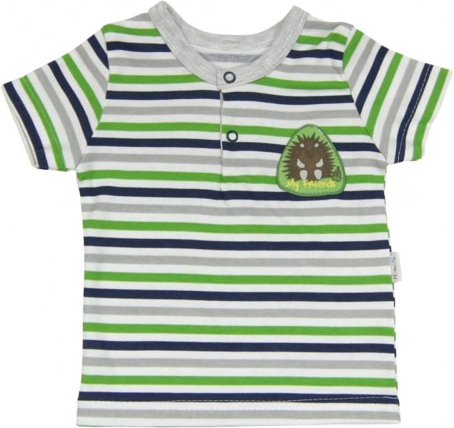 Mamatti Bavlnené Polo tričko Medvedík prúžok - krátky rukáv-68 (4-6m)