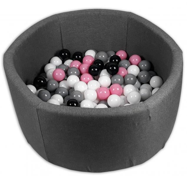 Bazen pre děti 90x40cm + 200 balónků - grafit bazén, balonky dle výběru