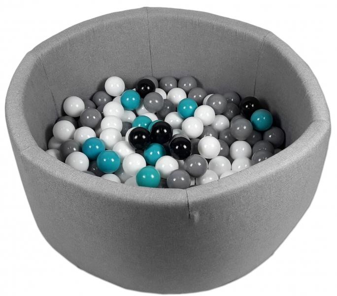 Bazen pre děti 90x40cm + 200 balónků - šedý bazén, balonky dle výběru