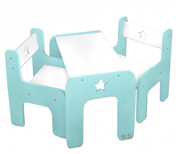 Sada nábytku Star - Stôl + 2 x stoličky - mätová