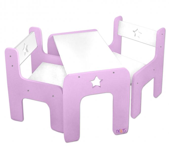 Sada nábytku Star - Stôl + 2 x stoličky - ružová