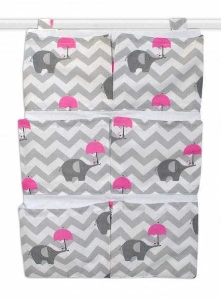 Mamo Tato Vreckár 40 x 65 cm - Sloni zigzag sivý/tm. ružový