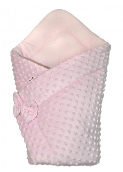 Luxusná zavinovačka s mašľou Minky Baby Duo - ružová