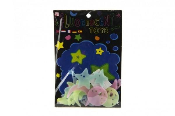 Teddies Hvězdy svítící ve tmě 4cm plast na kartě 13x19cm