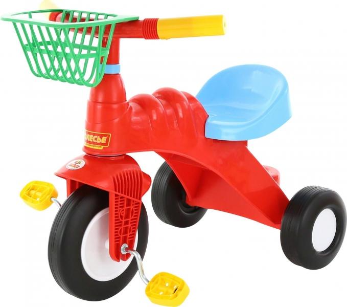 Plastová trojkolka s košíkom - červená