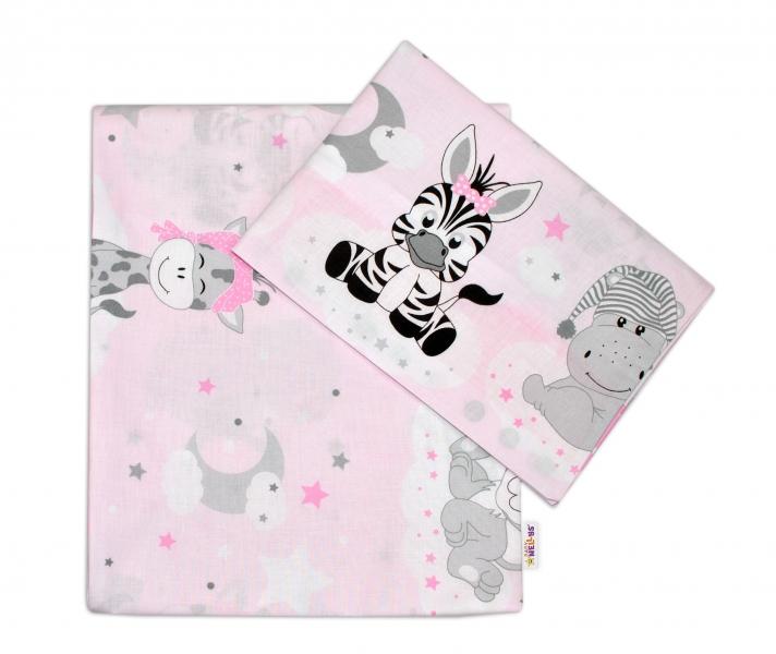 Baby Nellys 2-dielne bavlnené obliečky Safari Baby - růžová