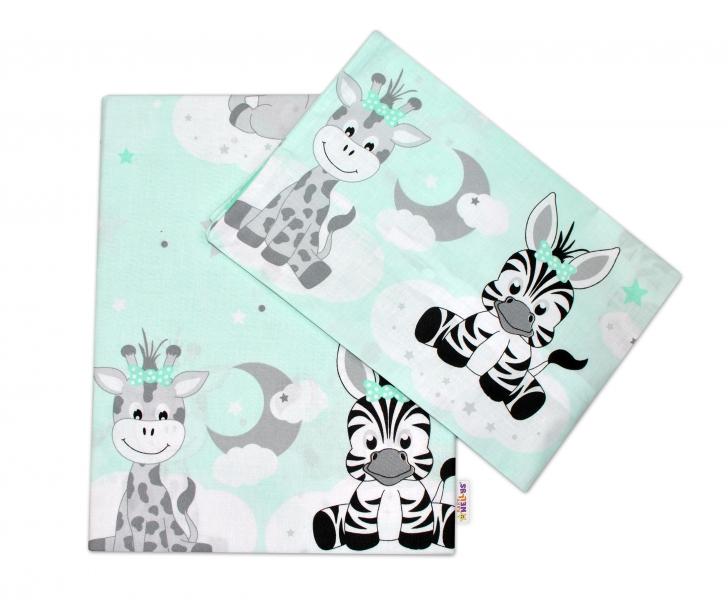 Baby Nellys 2-dielne bavlnené obliečky Safari Baby - mätové