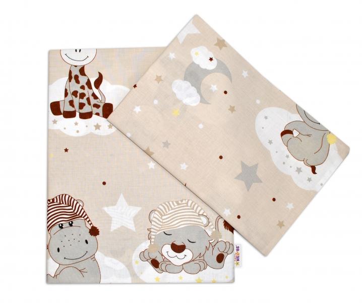 Baby Nellys 2-dielne bavlnené obliečky 135x100, Safari Baby - béžové