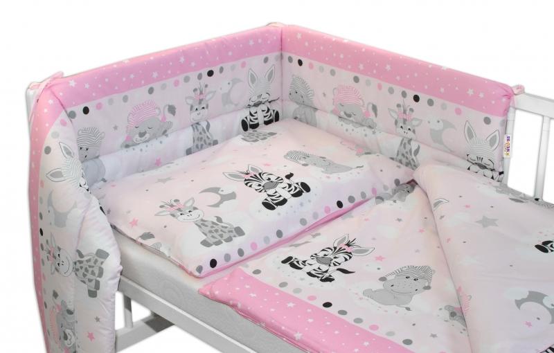 3- dielná sada mantinel s obliečkami 135x100, Safari Baby - ružová