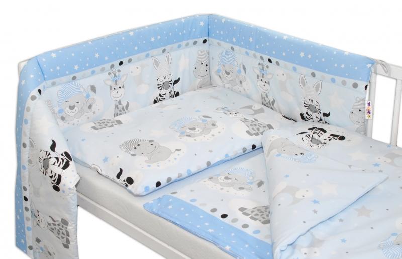 Baby Nellys 3- dielná sada mantinel s obliečkami Safari Baby - sv. modrá
